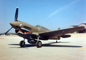 The Curtiss P-40 Warhawk was an American aircraft that first flew in 1938.